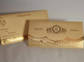 Golden Cream Broach Hindu wedding invitation-03