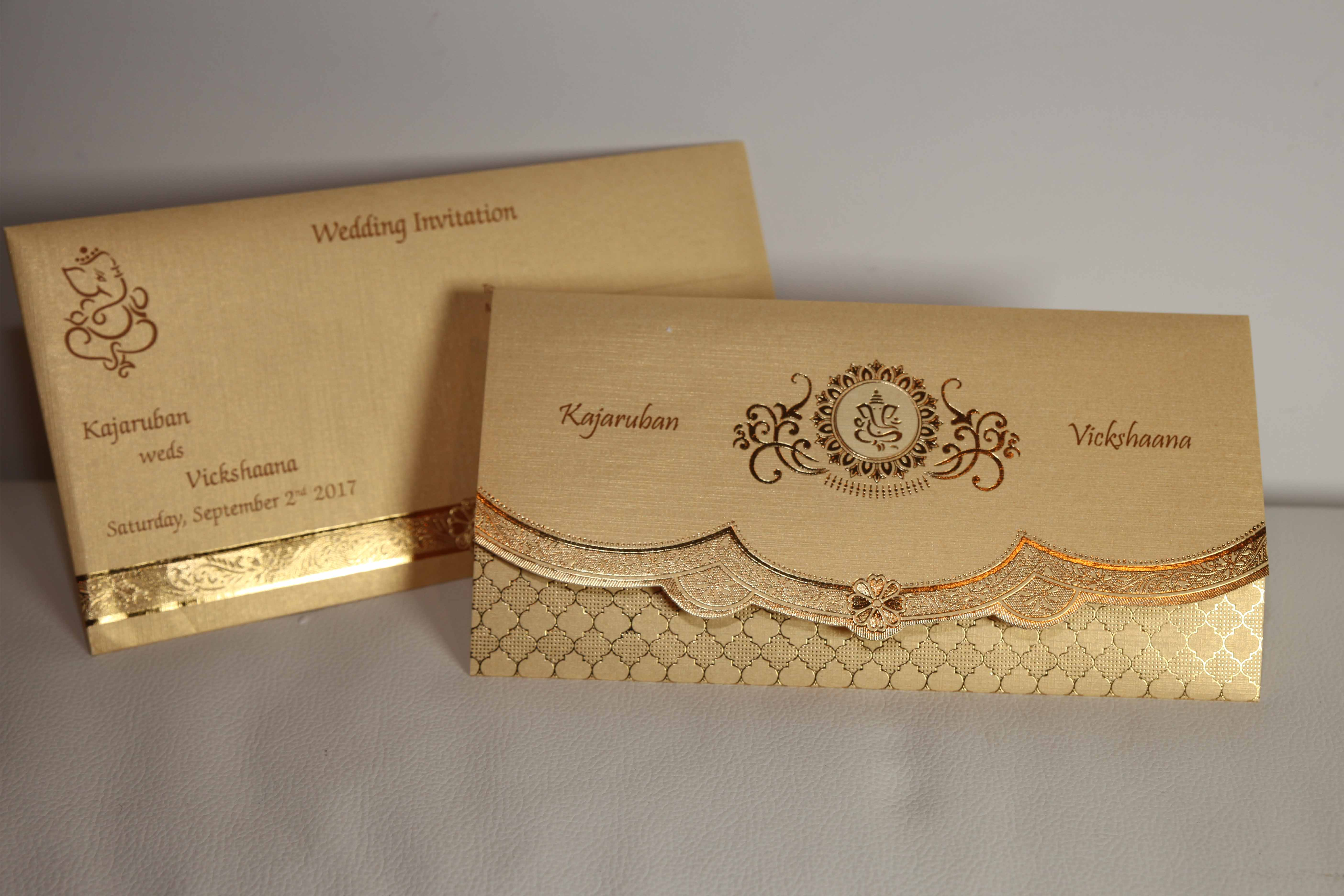 Golden Cream Broach Hindu Wedding Invitation