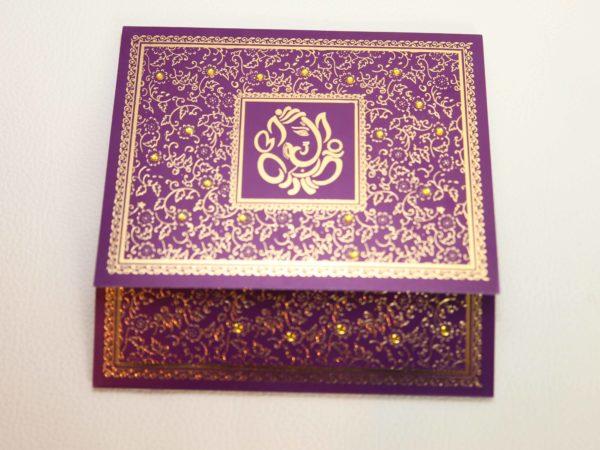 Foil flora purple hindu wedding invitation_04