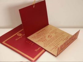 Foil flora hindu wedding invitation_Card