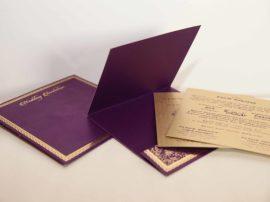 Foil flora purple hindu wedding invitation
