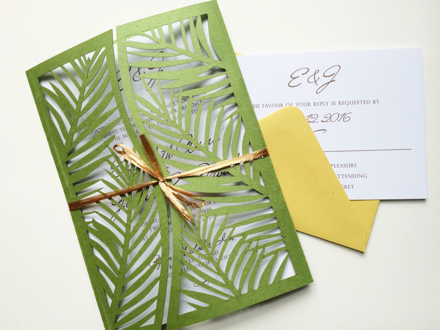 This is a elegant palm leafy style lazer cut wedding invitation palm leaf laser cut cards stopboris Image collections